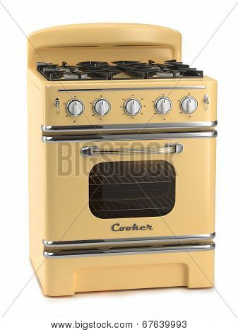 Retro Stove Isolated On White Background