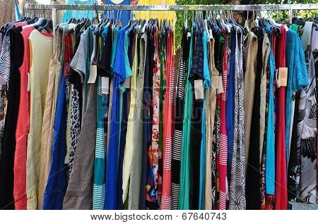 Clothes For Sale At Street Market