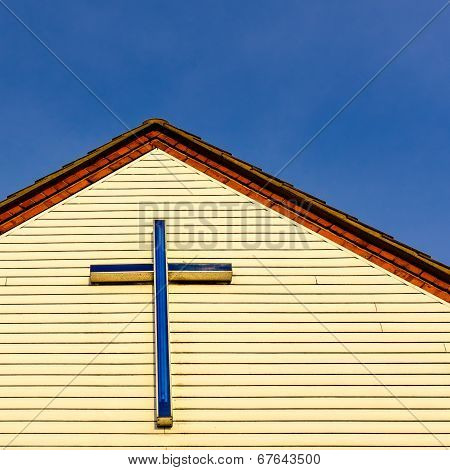 Cross/crucifix atop the front facia of St Wilfrid's Parish Hal