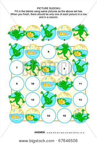 Picture sudoku puzzle with frogs and pond