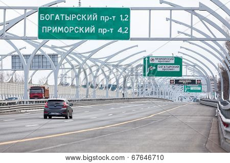 Saint-petersburg, Russia, Circa May, 2014: Western High-speed Diameter (whsd) Tollway. The Route To