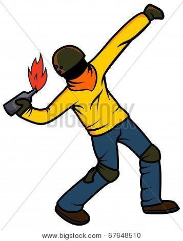 Rebel Throwing Molotov Cocktail