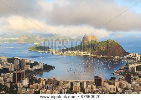 Mountain Sugarloaf In Clouds Guanabara Bay, Rio De Janeiro