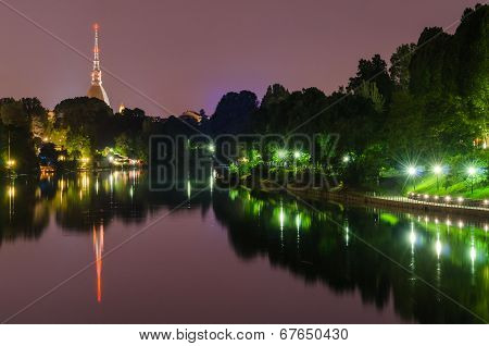 Turin (torino), Night Panorama With River Po And Mole Antonelliana