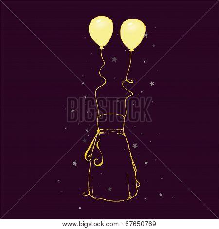 Sketch - strapless dress