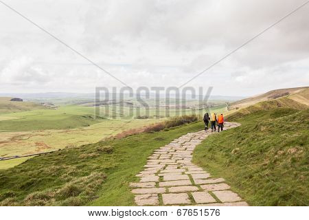 Walkers descending Mam Tor