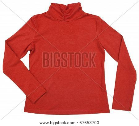 Red female turtleneck. Isolated on white