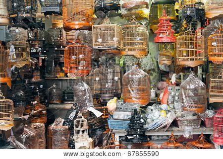 Birdcages, shot at famous bird street in Hong Kong, Asia.