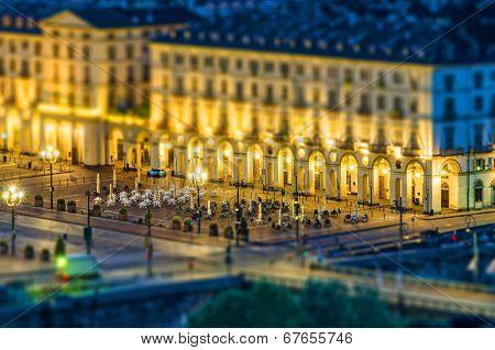 Turin (torino), Piazza Vittorio, Tilt-shift Effect