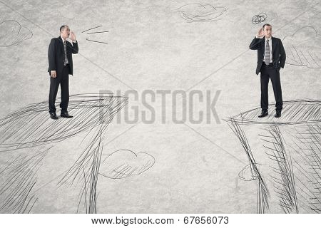Business men communication from distance. Photo compilation with the same model and hand drawn background.