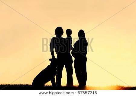 Silhouette Of Family With Dog And Pregnant Mother At Sunset