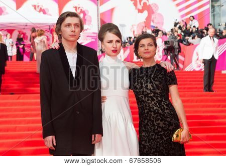 MOSCOW - JUNE, 19: Russian director V.G. Germanika with actors, 36th Moscow International Film Festival. Opening Ceremony at Pushkinsky Cinema . June 19, 2014 in Moscow, Russia
