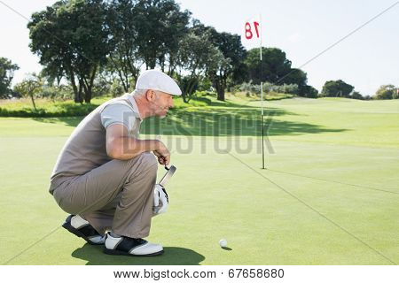 Golfer on the putting green at the eighteenth hole on a sunny day at the golf course
