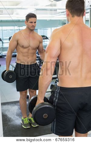 Shirtless bodybuilder lifting heavy black dumbbell looking in mirror at the gym