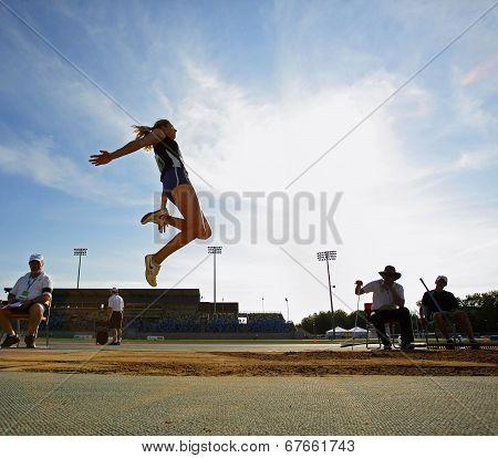 Long Jump Woman Sky Blue