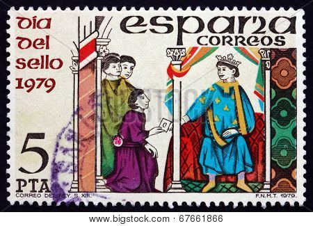 Postage Stamp Spain 1979 Messenger Handing Letter To King