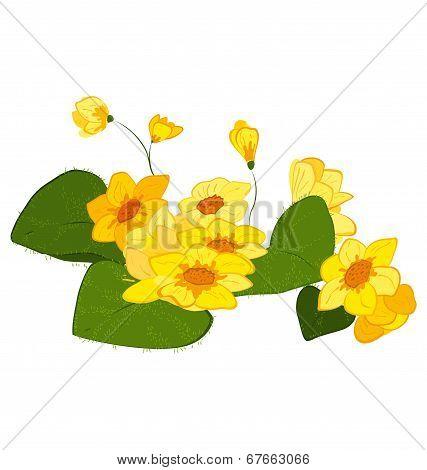 Hand Drawn Yellow Blooms