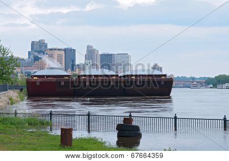 Barges And Skyscrapers Of Saint Paul Minnesota