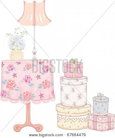 Shabby Chic-Themed Illustration Featuring a Stack of Gifts Standing Beside a Night Stand