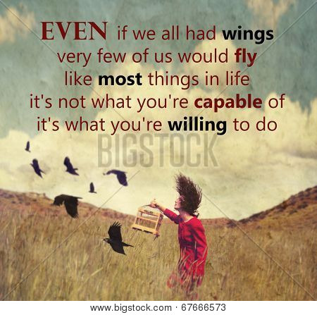 a girl walking in a field with a flock of birds with an original quote