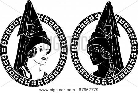 Girl portrait in medieval style medallion