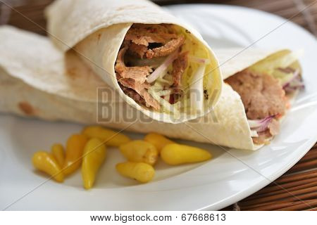 Doner kebab on a plate