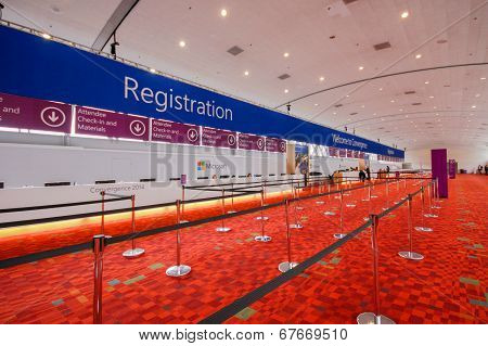 Registration Desk On The Eve Of Opening Microsoft Convergence
