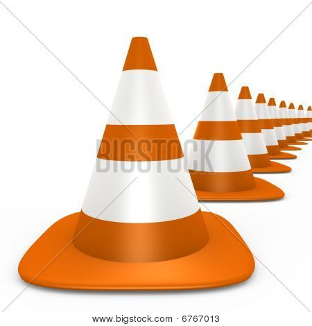 Traffic cones fading to the background - 3d image