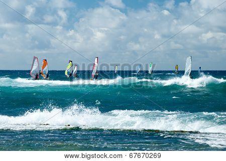 Windsurfers In Windy Weather On Maui Island