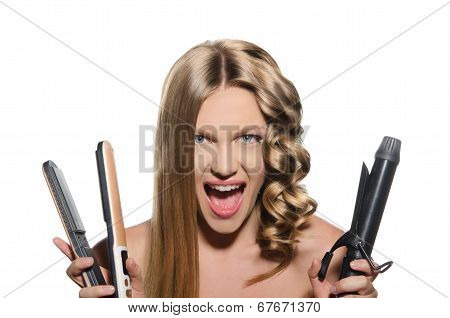 Young Woman Keeps Hair Curlers And Rectifier