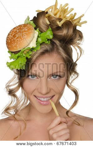 Woman Holding Slice Of Potato At Mouth