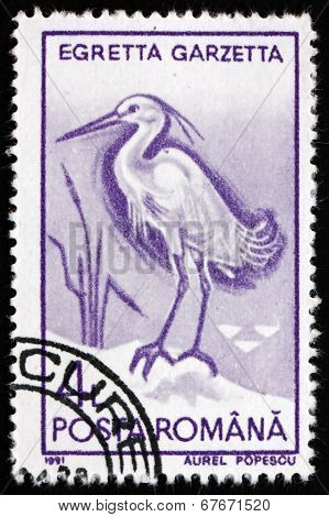 Postage Stamp Romania 1991 Little Egret, Bird