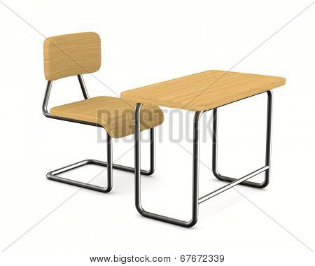 School desk and chair on white background. Isolated 3D image