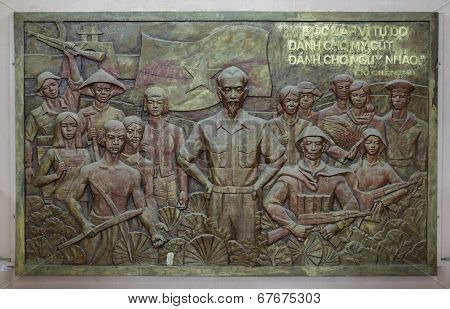 Bas-relief Of Ho Chi Minh With Troops And Workers.