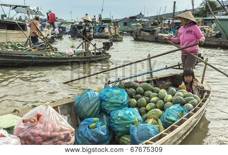 Floating Market On The Hau River.