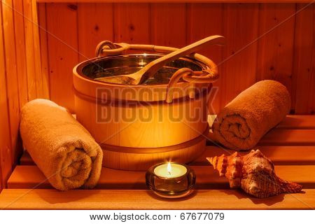 cosy atmosphere in the sauna in a spa area of ??a wellness hotel. recreation and relaxation from everyday life.