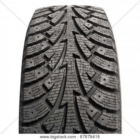 Black winter rubber car wheel against white background with protector