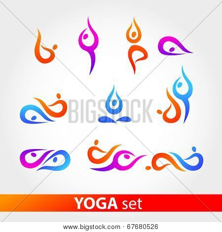 Yoga - a set. Figures in various poses on a white background. Vector series.