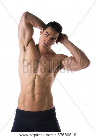 Handsome Muscular Shirtless Young Man, Hands Behind Head