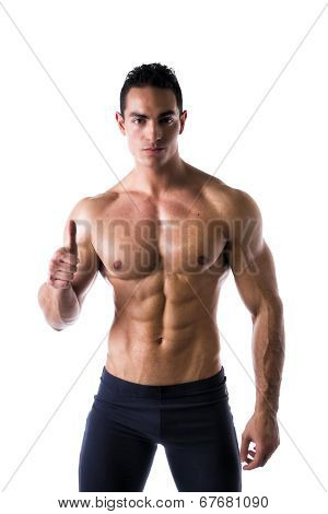Muscular Young Man With Thumb Up Doing Ok Sign