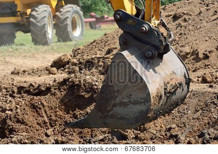 Mechanical shovel in close up