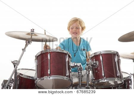 Young Boy Playing Drums