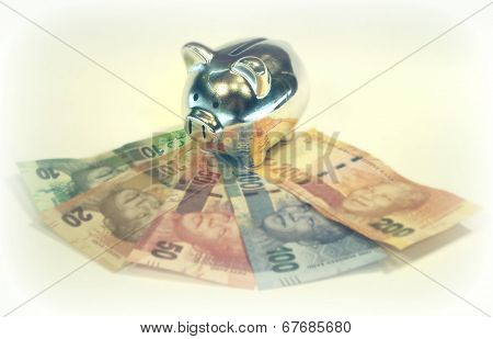Silver Piggy Bank on South African Rands Banknotes
