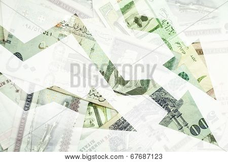 Saudi Arabia Money Background With Negative Trends Arrows