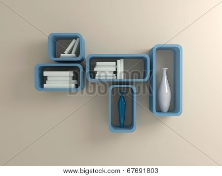 Modern blue shelf.