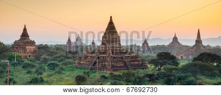 Panorama Of  Bagan Temple At Sunset, Myanmar
