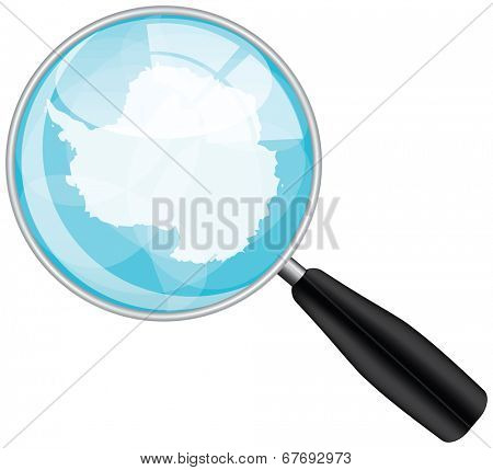 Magnifying glass with Antarctica