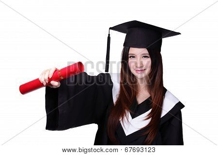 Happy Graduate Student Girl With Diploma