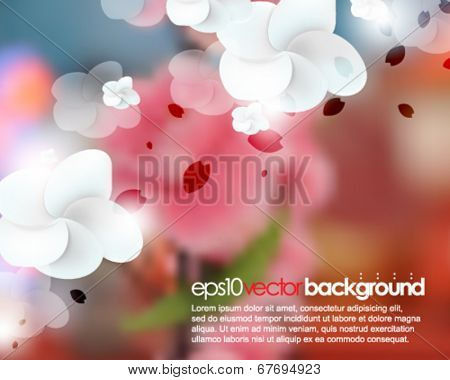 eps10 vector blurred realistic cherry blossom flower background