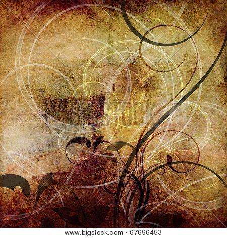 Swirls On Old Paper Grunge